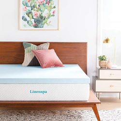 LINENSPA 3 Inch Gel Infused Memory Foam Mattress Topper – Queen