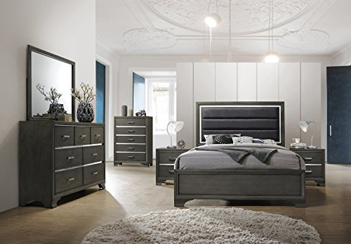 Kings Brand Furniture – 6-Piece Gray Wood with Faux Leather Headboard King Bedroom Set. Bed, Dre ...