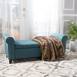 Darrington Armed Dark Teal Fabric Storage Bench
