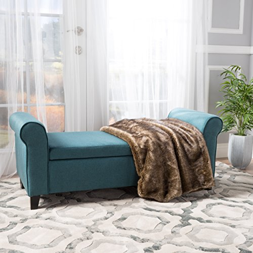Darrington Armed Dark Teal Fabric Storage Bench Zbbip