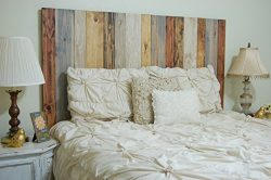 Rustic Mix Headboard Queen Size, Hanger Style, Handcrafted. Mounts on Wall. Easy Installation