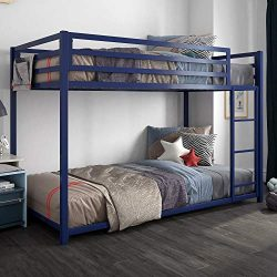 DHP 4303619 Miles Twin Metal Bunk Bed, Kid's Bedroom, Space-Saving Design, Blue