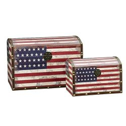 Household Essentials Decorative Storage Trunk, American Flag Design, Jumbo and Medium, Set of 2