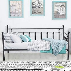 VECELO Premium Daybed Frame Twin Size Multifunctional Metal Platform with Headboard Victorian St ...