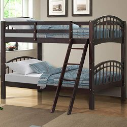 Harper&Bright Designs Twin-Over-Twin Solid Hardwood Bunk Bed (Espresso.)