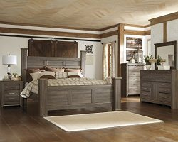 FurnitureMaxx Juararoy Casual Dark Brown Color Replicated Rough-Sawn Oak Bed Room Set, King Post ...
