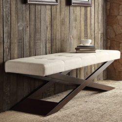 INSPIRE Q Bosworth Tufted Beige Linen Wood X Base Indoor Bench Ottoman for Living Room Bedroom o ...