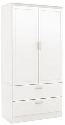 South Shore 5350038 2-Door Wardrobe Armoire with Adjustable Shelves and Storage Drawers, Pure White