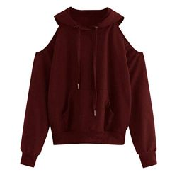 KFSO Women Solid Long Sleeve Off Shoulder Hooded Pocket Sweatshirt Pullover Blouse (Wine, M)