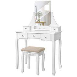 VASAGLE Vanity Table Set with Large Frameless Mirror, Makeup Dressing Table Set for Bedroom, Bat ...