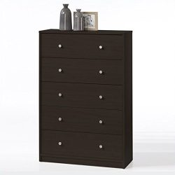 Tvilum 703292020 Portland 5 Drawer Chest, Coffee