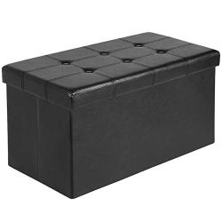Ulikit 30″ Folding Storage Ottoman Bench Faux Leather Toy Box/Chest Coffee Table/Foot Rest ...