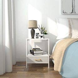Lifewit Small Side Table End Table Nightstand with Fabric Drawer for Bedroom, Sofa Table for Liv ...