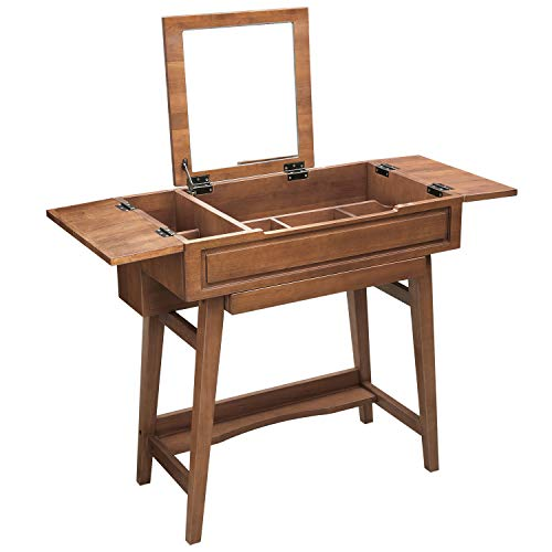 VASAGLE Vanity Table with Flip Top Mirror, Solid Wood Makeup Dressing Table Desk, 6 Organizers f ...