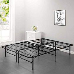 Bed Frame Platform Folding Bed Frame Metal Base Mattress Foundation Frame 14 Inch Portable Heavy ...