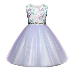 Girl Dress,Longay Child Girls Lace Floral Princess Wedding Performance Formal Dress Clothes (4-5 ...