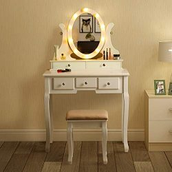 Vanity Dressing Table Set with Lighted Mirror, 360° Rotating Oval Makeup Mirror, Removable Top O ...