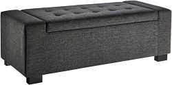 First Hill Calida Rectangular Storage Ottoman Bench with Fabric Upholstery, Large – Anchor ...