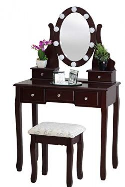 Fineboard Dressing Table with Stool and LED Lights with 5 Drawers and Mirror, Brown