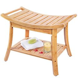 Shower Bench, Spa Seat With 2-Tire Storage Racks Shelf, Durable and Stable Indoor &Outdoor B ...