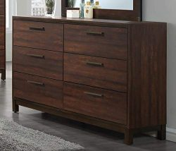 Coaster 204353-CO Edmonton Collection 59″ Dresser with Six Dovetail Drawers Metal Pulls an ...