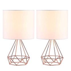CO-Z Modern Table Lamps for Living Room Bedroom Set of 2, Rose Gold Desk Lamp with Hollowed Out  ...