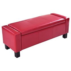 Giantex 43″ Rectangular Storage Ottoman Bench with Hinged Lid PU Leather Footstool Organiz ...
