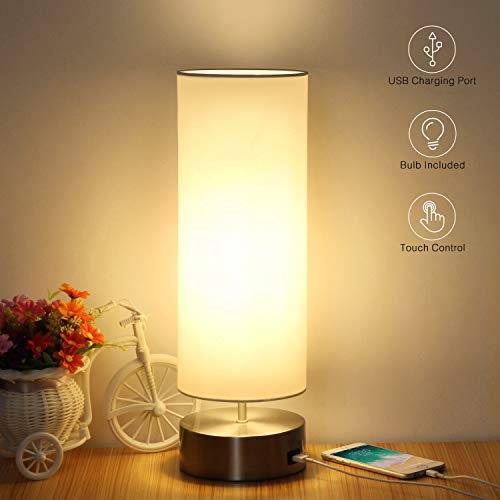 USB Table Lamp, Touch Control Bedside Nightstand Lamp Quick USB Charging Port 3 Level Brightness ...