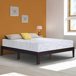 Ecos Living 14 Inch High Rustic Solid Wood Platform Bed with Natural Finish/No Box Spring Needed ...