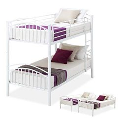 LAGRIMA Twin Over Twin Bunk Beds-Convertible Metal Bunk Bed Frame with Movable Ladder, Metal Sla ...
