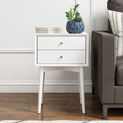 Nathan James 32701 Harper Mid-Century Side Table Two-Drawer Nightstand White