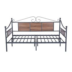 GreenForest Daybed Frame Twin Size with Wooden Fence Support Heavy Duty Steel Slats Platform Bed ...