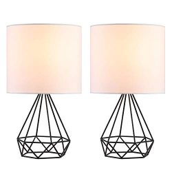 CO-Z Modern Table Lamps for Living Room Bedroom Set of 2, Black Metal Desk Lamp with Hollowed Ou ...
