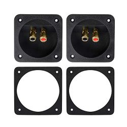 "Bluecell 1 Pair 3.1"" Double Binding Round Gold Plate Push Spring Loaded Jacks Speaker Box Termin ..."