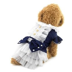 Zunea Puppy Pet Dog Cat Denim Dress Bow White Tutu Tulle Puppy Skirt Summer Clothes Darkblue S