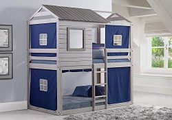 Donco Kids 1370-TTLG_1370-DB Deer Blind Bunk Loft Bed with Blue Tent Twin/Twin Light Grey