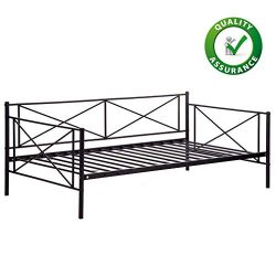 Daybed Frame Twin Size Metal Platform Day Bed Heavy Duty Box Spring Replacement Living Guest Roo ...