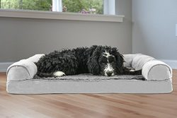 FurHaven Pet Dog Bed | Orthopedic Ultra Plush Sofa-Style Couch Pet Bed for Dogs & Cats, Gray ...
