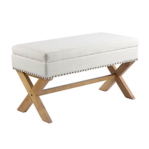 CO-Z Antique Drexler Storage Bench Ottoman Natural Linen Fabric with X-shape Leg & Brass Nai ...