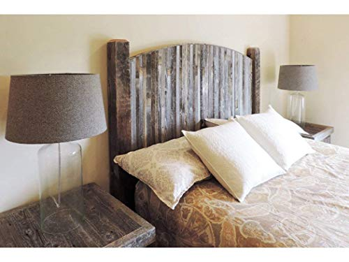 Farmhouse Style Arched Queen Size Bed Barnwood Headboard w/Narrow Weathered Reclaimed Wood Slats ...