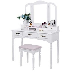 BEWISHOME Vanity Set Makeup Dressing Table and Cushioned Stool, Large Tri-Folding Mirror, 5 Draw ...