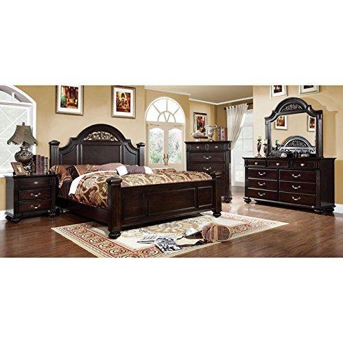 247SHOPATHOME IDF-7129Q-6PC Bedroom-Furniture-Sets, Queen, Walnut