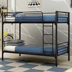 JURMERRY Bunk Beds Metal Frame Twin Over Twin Loft Bed for Kids Girls with Black Sliver Slat&amp ...