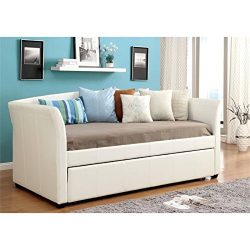 Furniture of America Alisa Modern Leatherette Daybed with Roll-Out Trundle, White