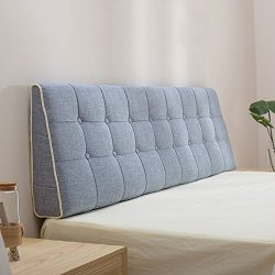 LIANGJUN Headboard Cushion Wall Pillow Linen Fabric Lumbar Pad Bed Backrest Breathable Removable ...