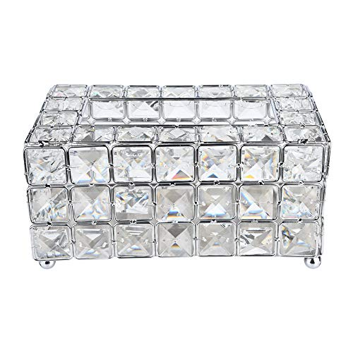 Rectangle Tissue Box Cover Handmade Crystal Luxury Toilet Tissue Box Holder for Storage on Bathr ...