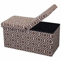 Otto & Ben  Folding Toy Box Chest with SMART LIFT Top, Mid Century Upholstered Ottomans Benc ...