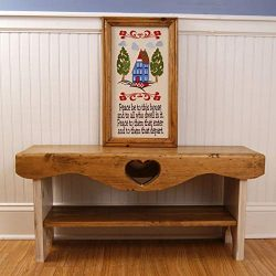 Farmhouse Bench, Heart Bench, Shaker Bench, Bedroom Bench, 3′ Bench with Shelf, Wood Bench ...