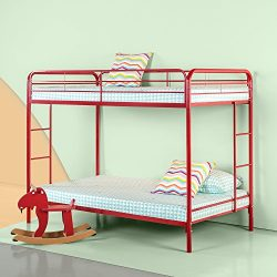 Zinus Easy Assembly Quick Lock Metal Bunk Bed Dual Ladders, Twin Over Twin, Red