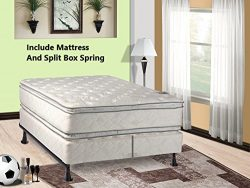 Mattress Solution, 12-Inch medium plush Double sided Pillowtop Innerspring Mattress And Wood Tra ...